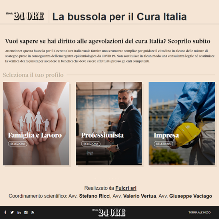 Fulcri develops the Guide for the Cura Italia (Cure Italy) decree on Il Sole 24 Ore